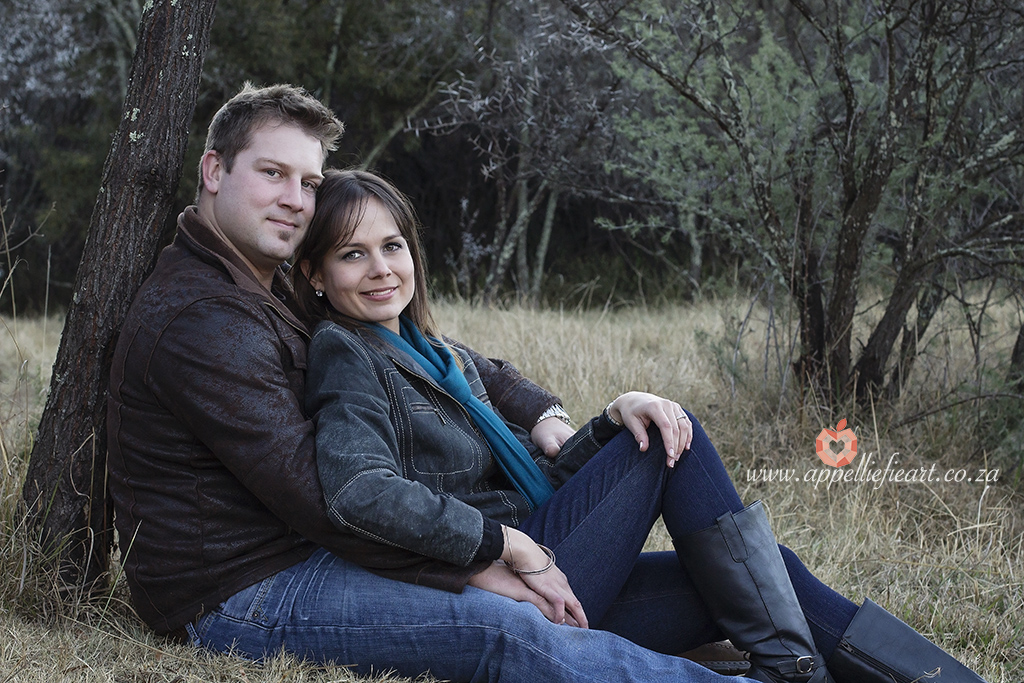 Engagement session in the woods in winter