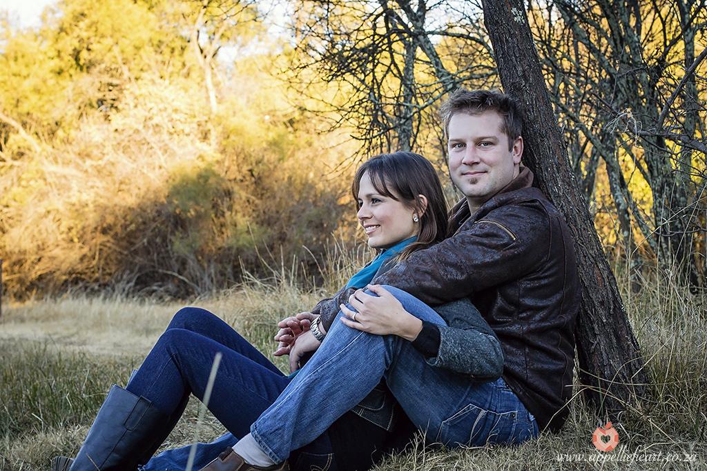 Engaged couple enjoying nature